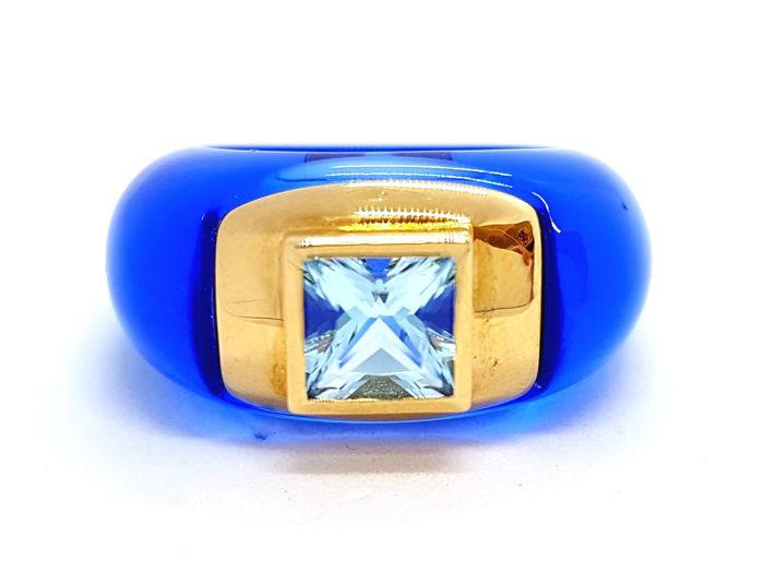 André Benitah - Ring - Resine - 18 kt yellow gold - Topaz 0.80 ct - Size 52 EU