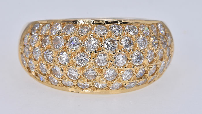 1.10 Ct Diamond ring . 14kt yellow gold, size 14 adjustable. No reserve price.