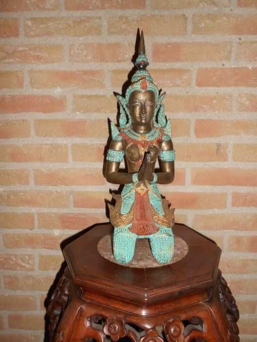 Bronze temple guard - Polychrome - Thailand - 2nd half 20th century