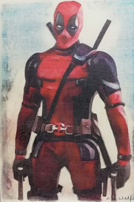 DEADPOOL  - Original artwork on a wooden plate - 29,8 x 42 cm - Prima edizione - (2018)