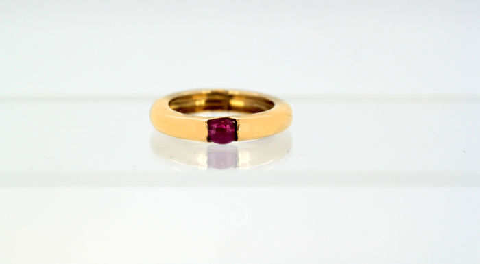 Vintage 18k rose gold unisex ring band with ruby - Gold