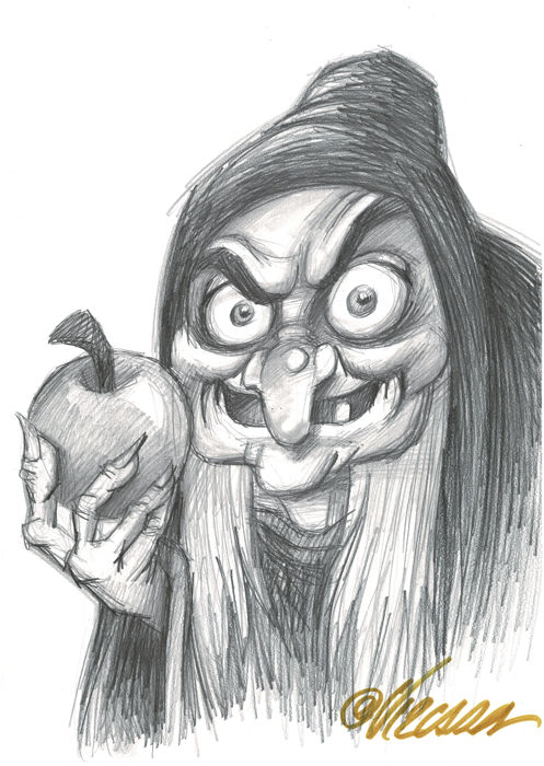 The Poisoned Apple - Snow White - Original Drawing - Joan Vizcarra