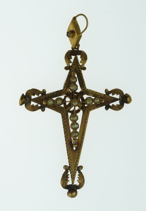 Large antique 18 karat gold cross pendant with pearls - 19th century -