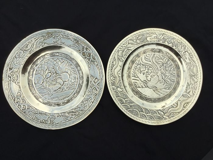 Brass decorative plates - China - approx 1920