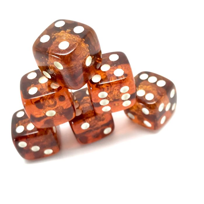 6pcs game dice D6 - 6 sided - Amber
