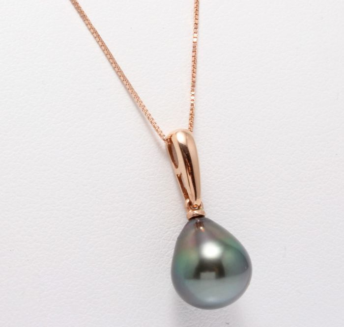 14 kt. Rose Gold - 9x10mm Tahiti Pearl Drop - Necklace with pendant