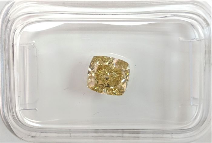 1.01  ct - Natural Fancy Cushion Diamond - Intense Yellow Color - SI1 - NO RESERVE!
