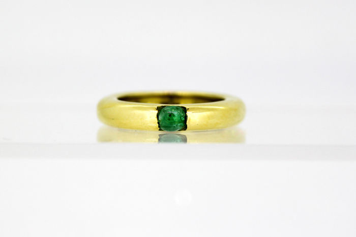 Vintage 18k yellow gold unisex ring -  band with emerald (0.33 ct), Circa 1970's