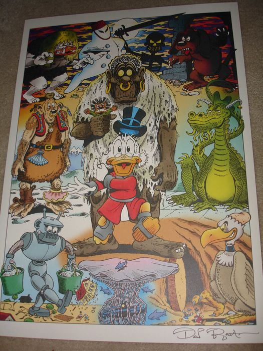 rosa don signed print scrooge mcduck and monsters first