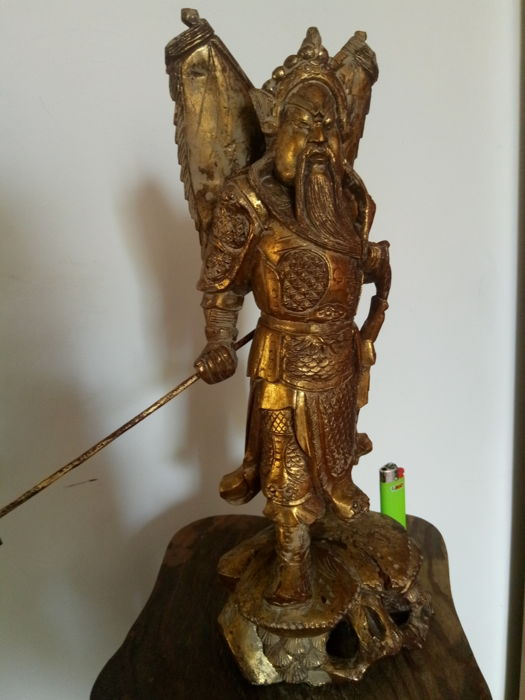 Guan Yu in gilt wood - China, first half of 20th Century