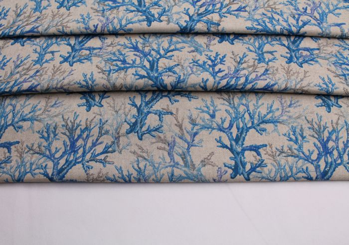 5.40 linear metres of Panama fabric with coral pattern - cotton blend