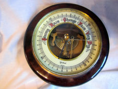 Gischard Aneroid Antique German Barometer - Wall Weather Station Vintage Barometer Oak - Laiton / verre