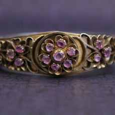 Antique Biedermeier bangle made of silver with tanzanite and rubies, part gold-plated - circa 1820 / 1840 - no reserve price