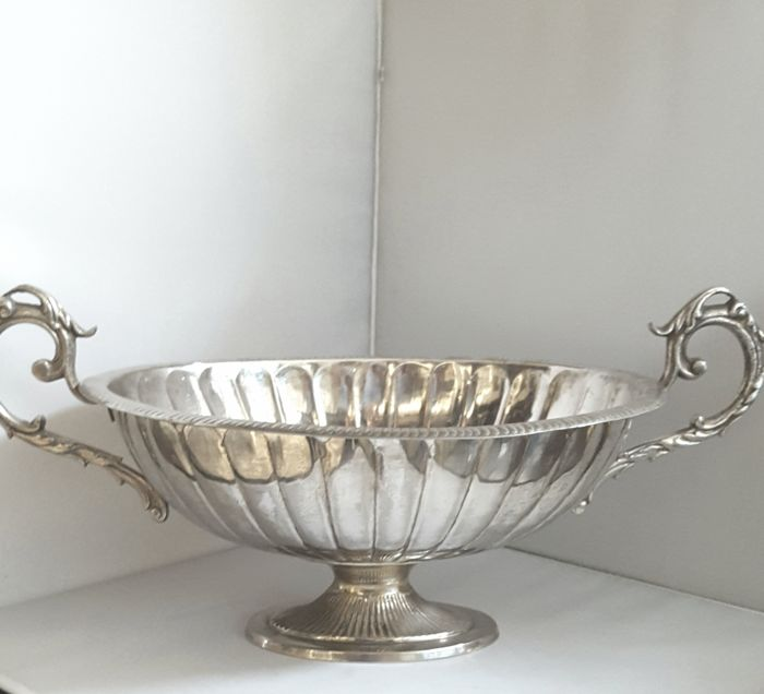 Large silver plated jardiniere/fruit bowl unmarked, with 2 decorated handles.