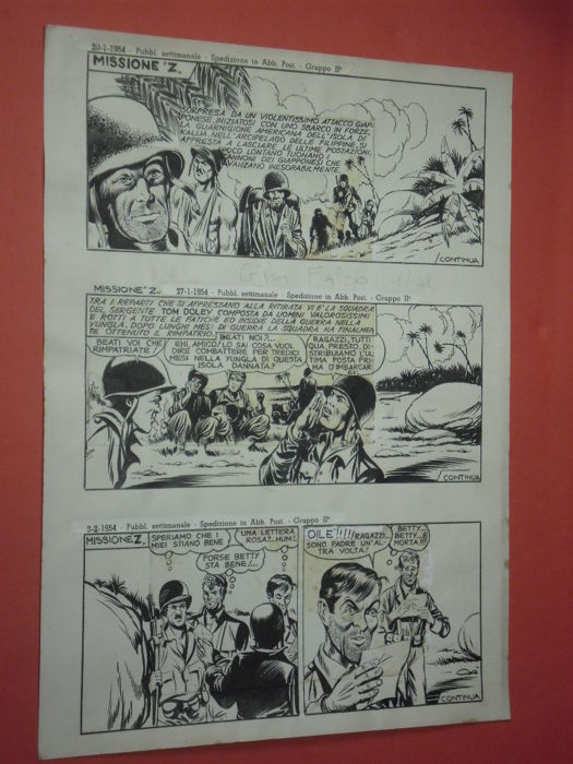 """Pini Segna - original page """"Missione Z"""" - Loose page - First edition - (1954)"""