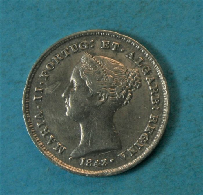 Portugal - Monarchy - D. Maria II (1834-1853) - 100 Reis 1843 - Mended Date (43 over 37) - Silver