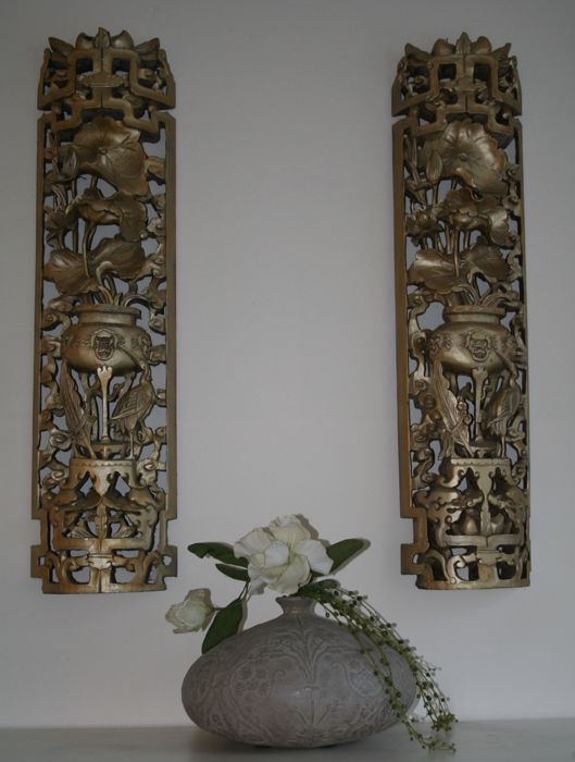 Two large Chinese wall reliefs. - China - 1st half 20th century