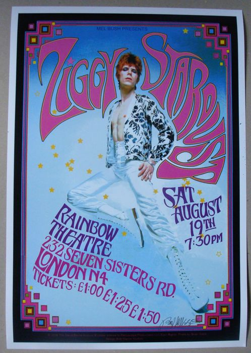 David Bowie - Ziggy Stardust Poster Tribute to Historic 1972 Rainbow Theater Show - Reprint poster (Reissue) - 2018
