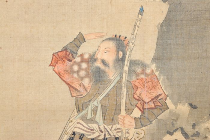"""Hand painted hanging scroll signed Fuko""""偑湖""""  """"Ancient Samurai Painting"""" - Japan - Late 19th century or Early 20th century (Meiji period)"""