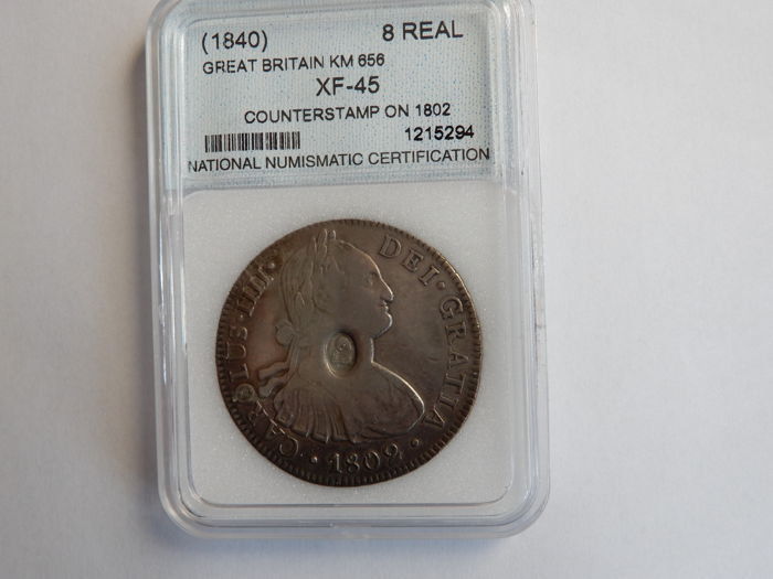 Great Britain - 8 Reales (1840) counterstamp on 1802 - Silver