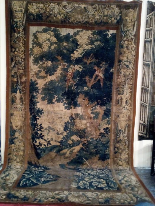 A verdure tapestry fragment with exotic birds - wood, silk - late 17th century