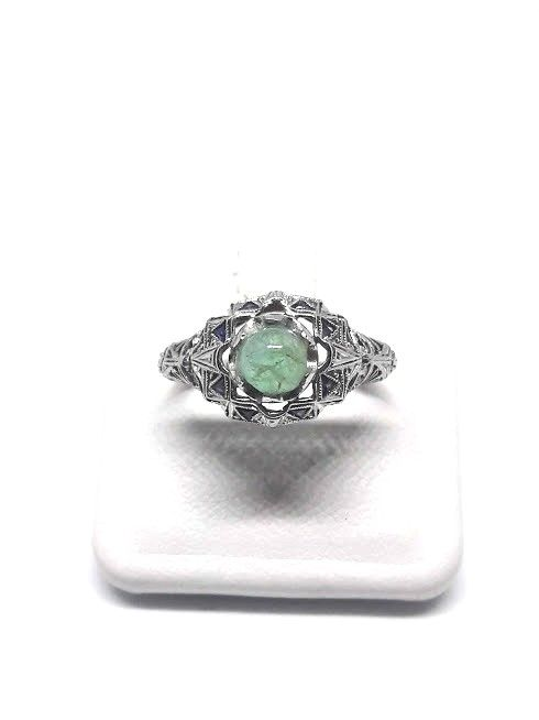 Art Deco ring from the 1920s - 14 kt gold with 1 cabochon cut emerald - size: 16.5 mm