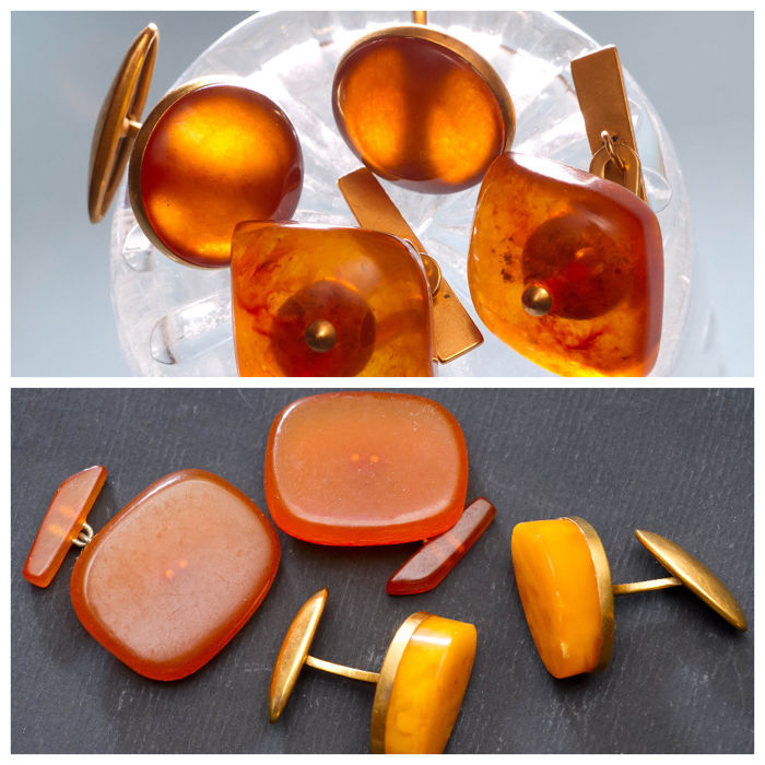 Vintage Baltic Amber set of four pair of cuff links, stamped gold plated, egg yolk colour Amber
