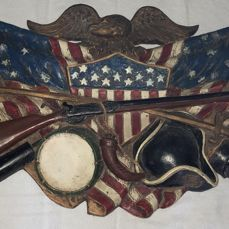 American Heritage Resin and Iron Hanging Wall Display Piece (Eagle, American Flag, Rifle, Hat, Drum) – Mid 20th Century