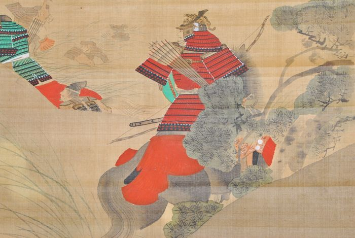 "Hand painted hanging scroll signed Fuko""楓湖""  ""Samurai on horse"" - Japan - ca.1910-30 (Taisho period)"