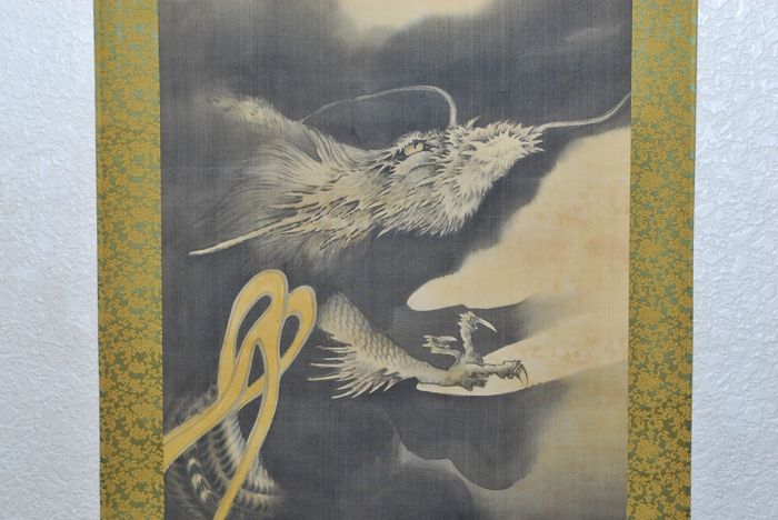"Hand painted hanging scroll - Signed 'Keiseki' 圭石 - ""Rising Dragon"" - Japan - ca. 1930-40 (Showa Period)"