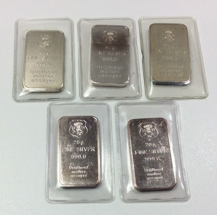 H. Drijfhout & Zn. - 5 x 20 grams - 999/1000 - Minted silver bars - Sealed