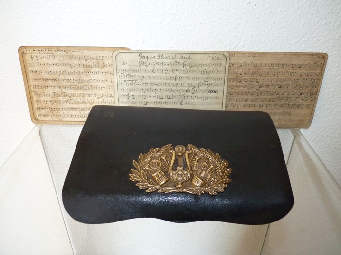 French militairy musicians leather cartridge sheet music pouch - Napoleon 2nd empire c.1850