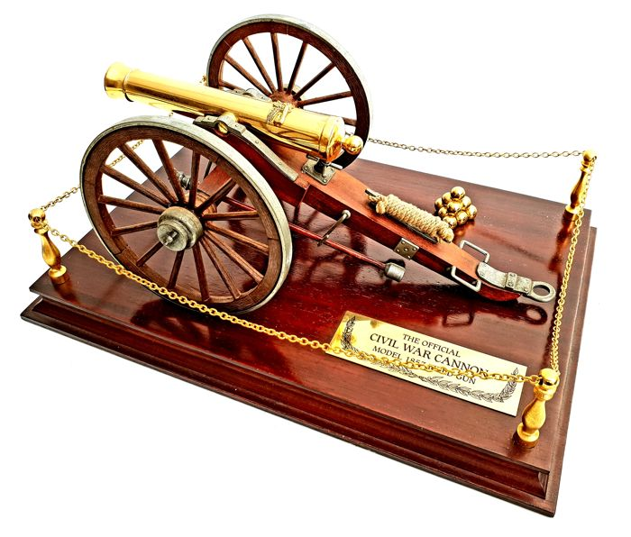 Franklin Mint - Large Model - The Official Civil War Cannon  - Model 1857 Field Gun - Heavy 24 carat gold plated, Mahogany wood