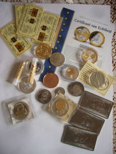 5 grain gold certiffed 999/1000 + 20 grammes silver and gold 999/1000 europe  + 3 bullion titanium buffalo      +  a lot of coin and bullion  gold plated