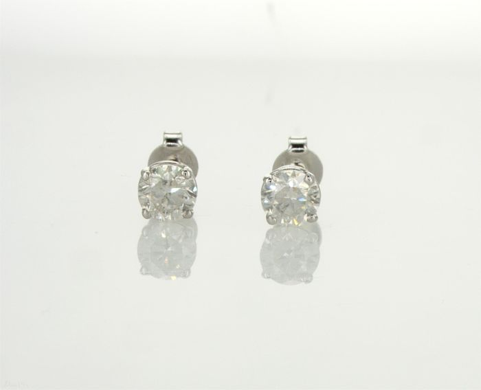"""14"" Karat White Gold Pair Of  Earring Set With Two Round Natural Diamonds Total 1.06 Carat - No Reserve Price"