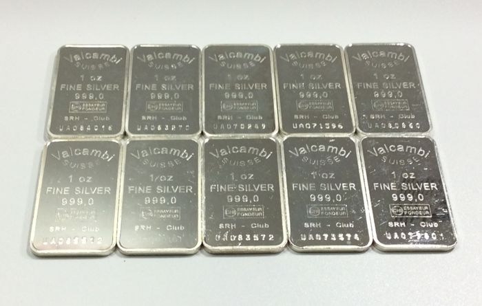 Valcambi Suisse - 10 x 1 oz - 999/1000 - Minted silver bars - With serial numbers