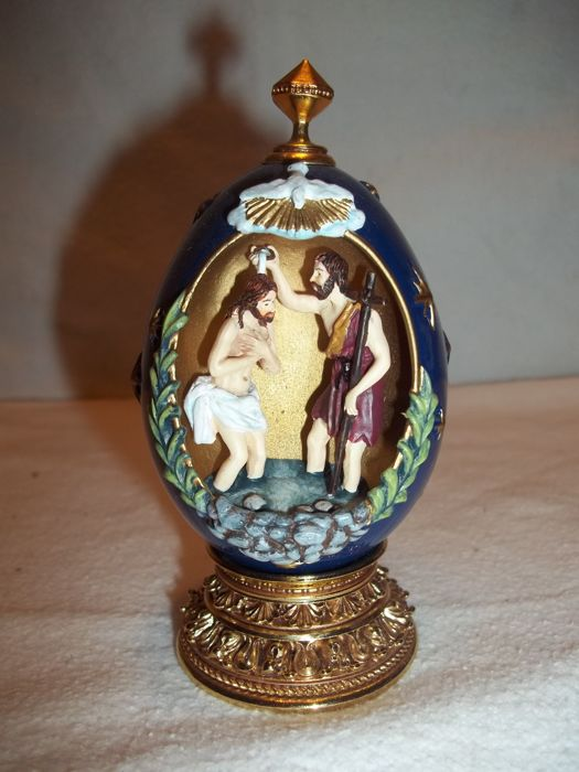 """House of Fabergé - """"The Baptism""""  - A Nativity Collector Egg - Limited Edition - Marked - Very good condition."""