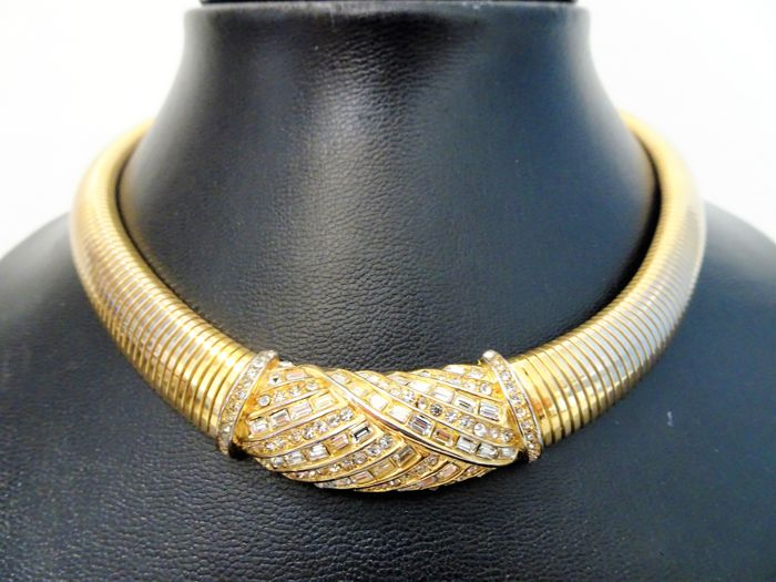 Christian Dior - 1970s - Triple 18kt. piatto d'oro e diamanti brillanti - Collana