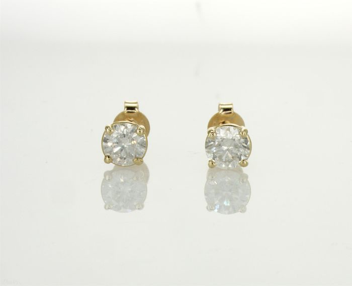 """""""14"""" Karat Yellow Gold Pair Of  Earring Set With Two Round Natural Diamonds Total 1.09 Carat - No Reserve Price"""