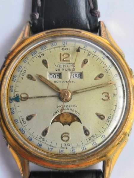 Venus - Felsa - Bidynator triple calendar moonphase watch - 4662 - Unisex - 1950-1959