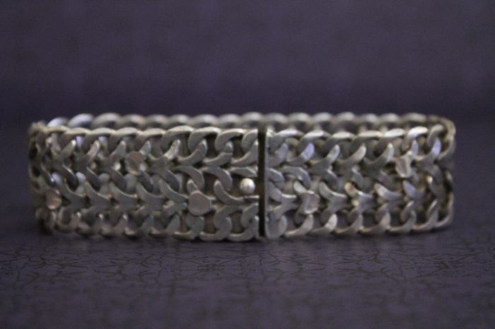 Solid, old designer bracelet made of 925/1000 silver - Hecho En FVE - designer jewellery from Mexico - No reserve price