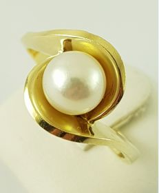 Pearl ring - 585 yellow gold - 1 freshwater cultured pearl - size 60