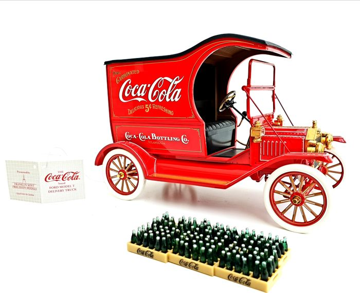 Franklin Mint - Official Ford Model T Coca-Cola Delivery Model - Ma - many 24 carat gold plated parts