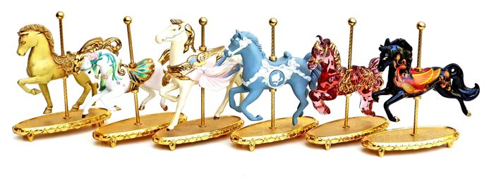 Franklin Mint Imperial Carousel Collection - 6 different carousel models - 24 carat gold plated, Crystal and Fine Porcelain