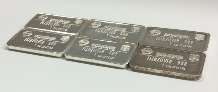 Schöne Edelmetaal B.V. - 6 x 1 ounce - 999/1000 - Minted silver bars - all with different reverse