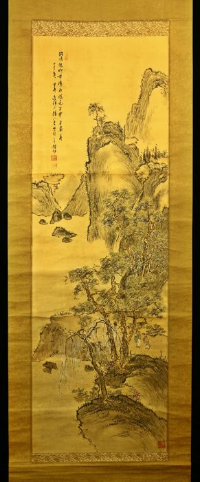 Hand painted hanging scroll - Signed 'Baison' 梅邨 - 'Landscape' - Japan - Late 19th/Early 20th century (Meiji period)