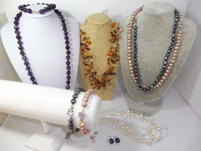 Jewelry sets New Necklaces Bracelets Earrings - High Quality Collection - Amethyist,Genuine Pearls,Citrine,14Kgold and 925s