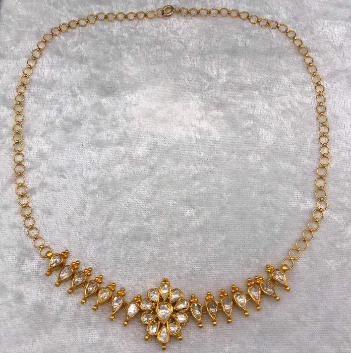 24 kt. Gold - Necklace with pendant - 3.00 ct Diamond