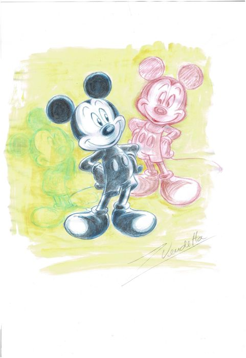 Mickey Mouse In Three Colours - Original Sketch - Z. Vendetta - First edition