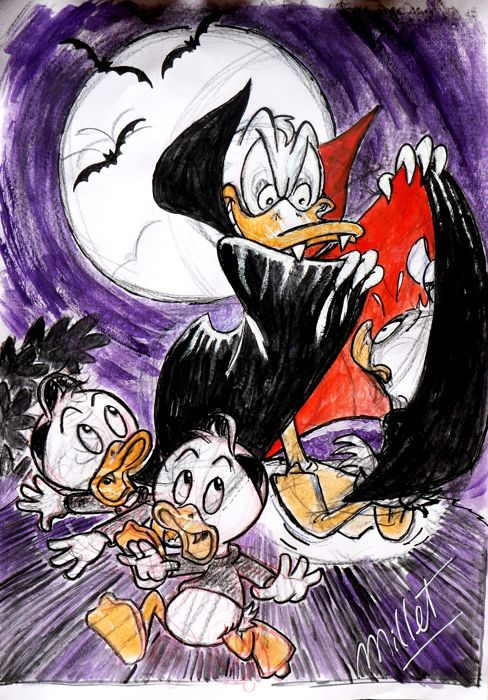 "Donald Duck  - Original Drawing by Millet - Donald Duck - ""Dracula"" scares his nephews!"